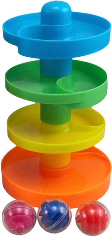 Baby dráha barevná kuličková 15x25cm + 3 kuličky plast pro pmiminko