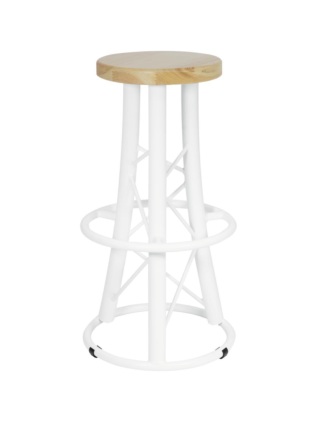 Stolička barová, 3-nožka prohnutá, bílá