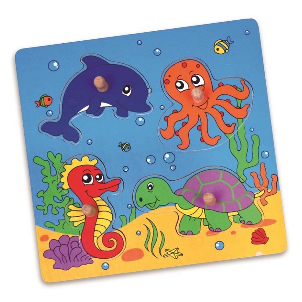 Dřevěné puzzle s úchyty pro nejmenší Viga Moře - multicolor