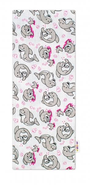 Baby Nellys Kvalitní bavlněná plenka - Tetra Premium, 70x80cm - Delfínci