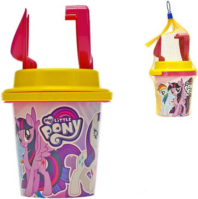 My Little Pony set kyblík 14cm s lopatkou a hráběmi na písek v síťce