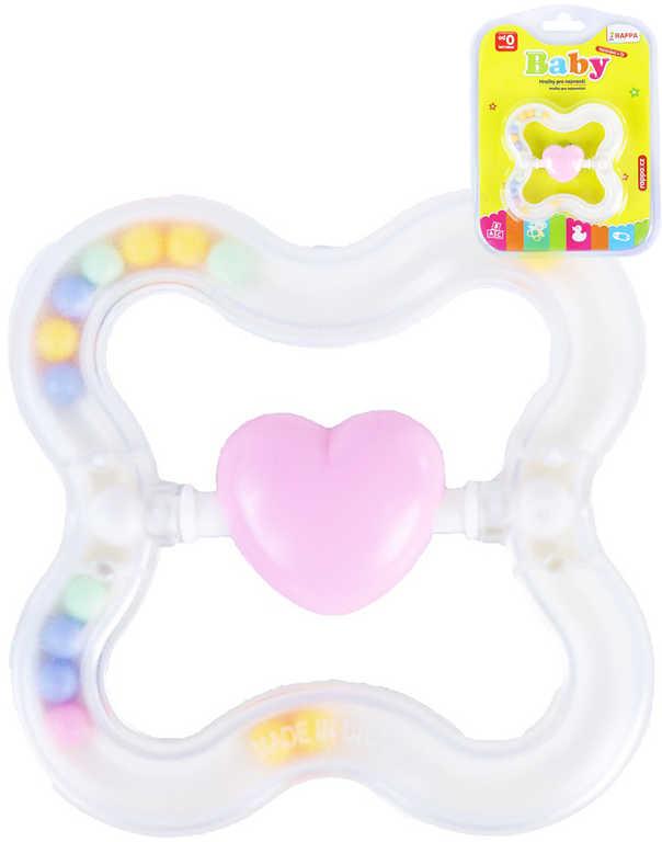 Baby chrastítko srdce s kuličkami pastelové transparentní pro miminko plast