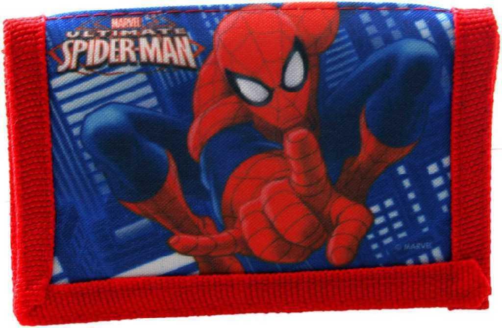 Peněženka dětská 13x8cm Spiderman na suchý zip modrá