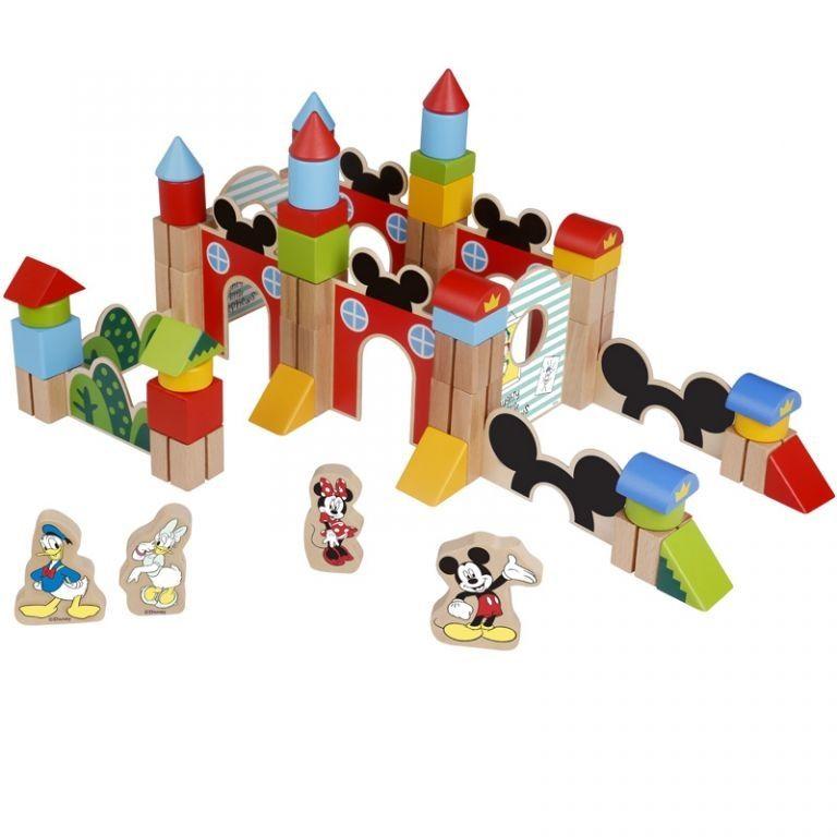 Disney dřevěné velké kostky 60 ks - Mickeyho hrad