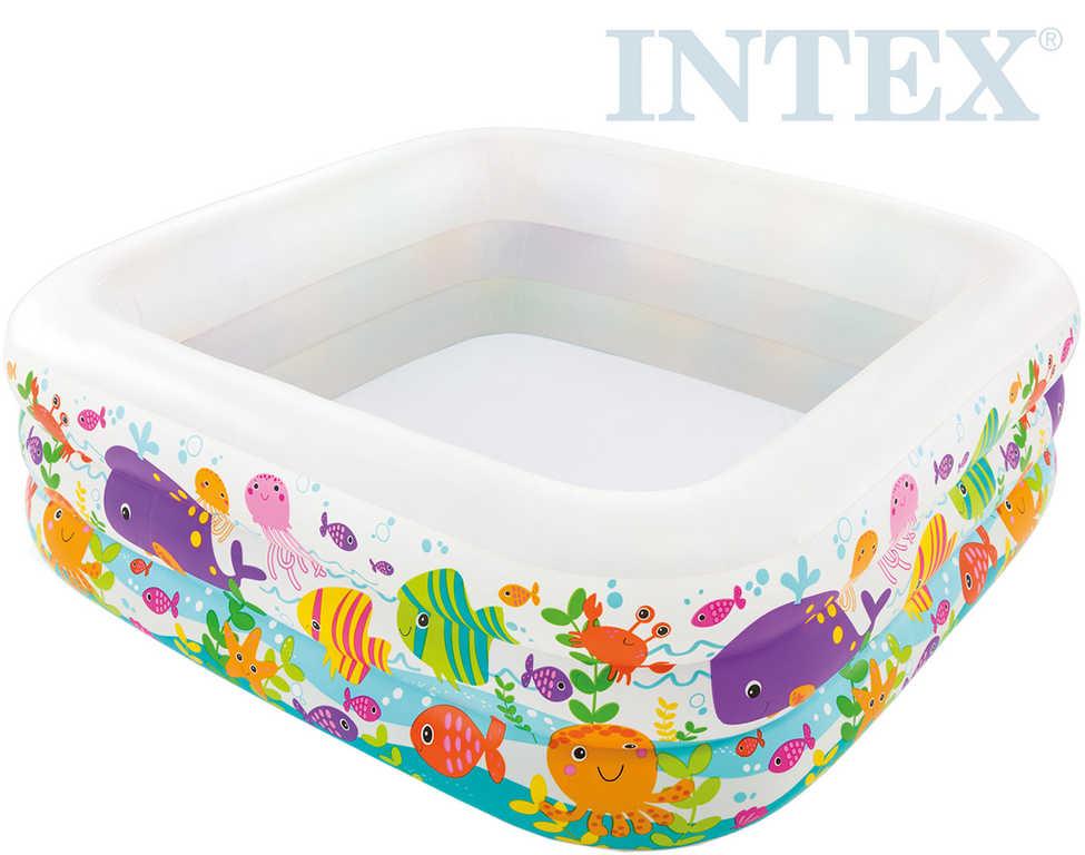 INTEX Bazén dětský nafukovací Oceán 159x159x50cm čtverec 3 komory