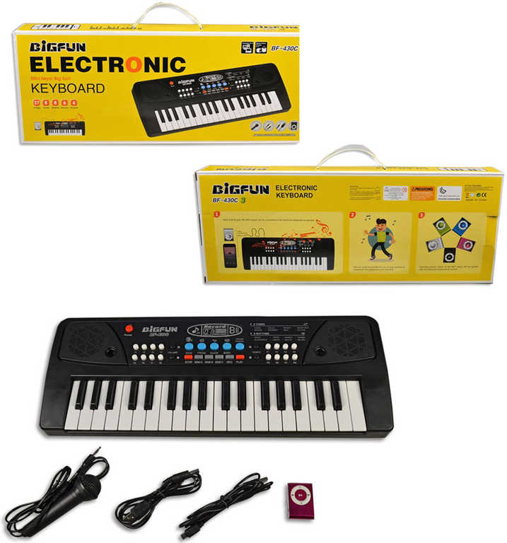 Piáno dětské elektronické klávesy set s mikrofonem a doplňky keyboard na baterie