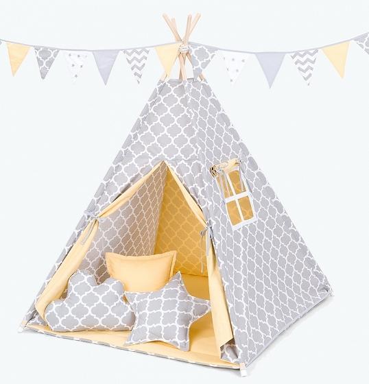 Stan pro děti teepee, týpí s výbavou - maroko šedé/žlutý