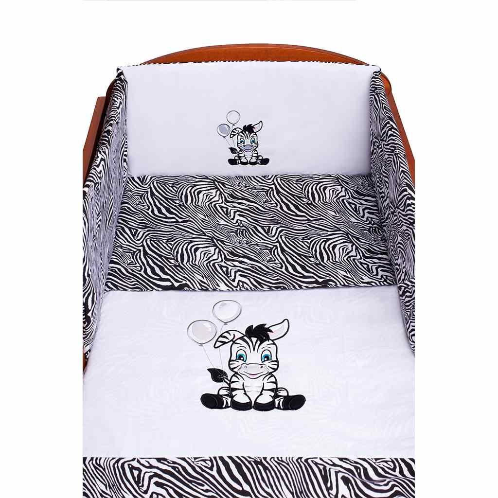 5-dílné ložní povlečení New Baby Zebra 100/135 bílo-černé - bílá