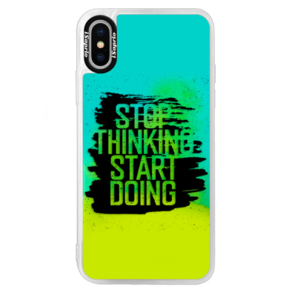 Neonové pouzdro Blue iSaprio - Start Doing - black - iPhone XS