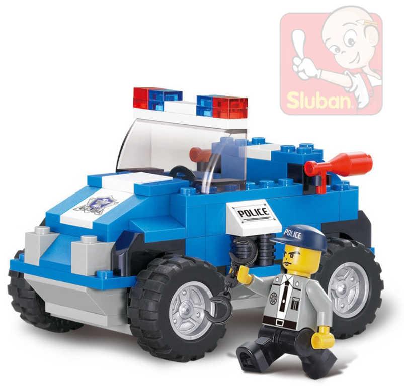 SLUBAN Stavebnice POLICIE zásahový vůz set 121 dílků + 1 figurka plast