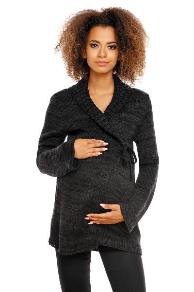 Pletený zavinovací svetřík MAMI - černý
