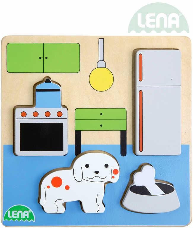 LENA DŘEVO Baby vkládačka kuchyň 18x14cm puzzle vkládací 32141