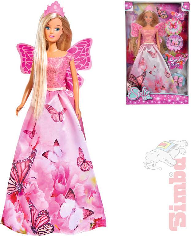 SIMBA Steffi Love Víla 29cm panenka v šatech s motýlky set s doplňky v krabici