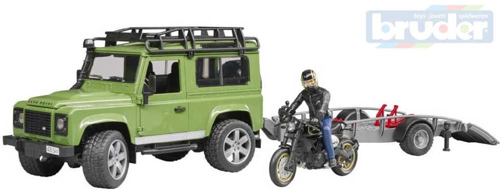 BRUDER 02598 Set auto Land Rover peřapravník s motocyklem a figurkou