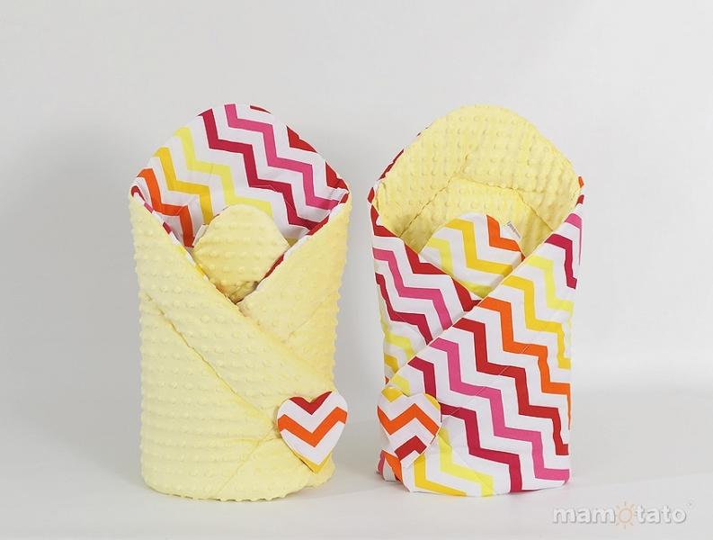 Oboustranná zavinovačka Minky Baby - Zigzag žluto-červený/ žlutá