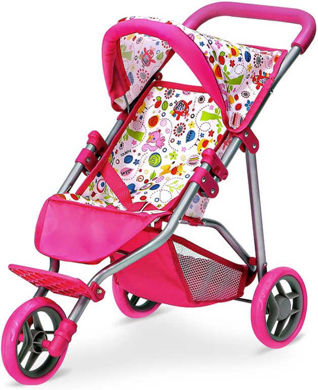 Kočárek růžová trojkolka s obrázky pro panenku miminko kovová konstrukce