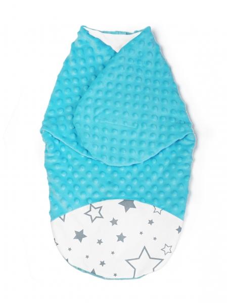 baby-nellys-zavinovacka-spacacek-s-minky-0-6m-hvezdy-a-hvezdicky-minky-tyrkys-0-6-mesicu