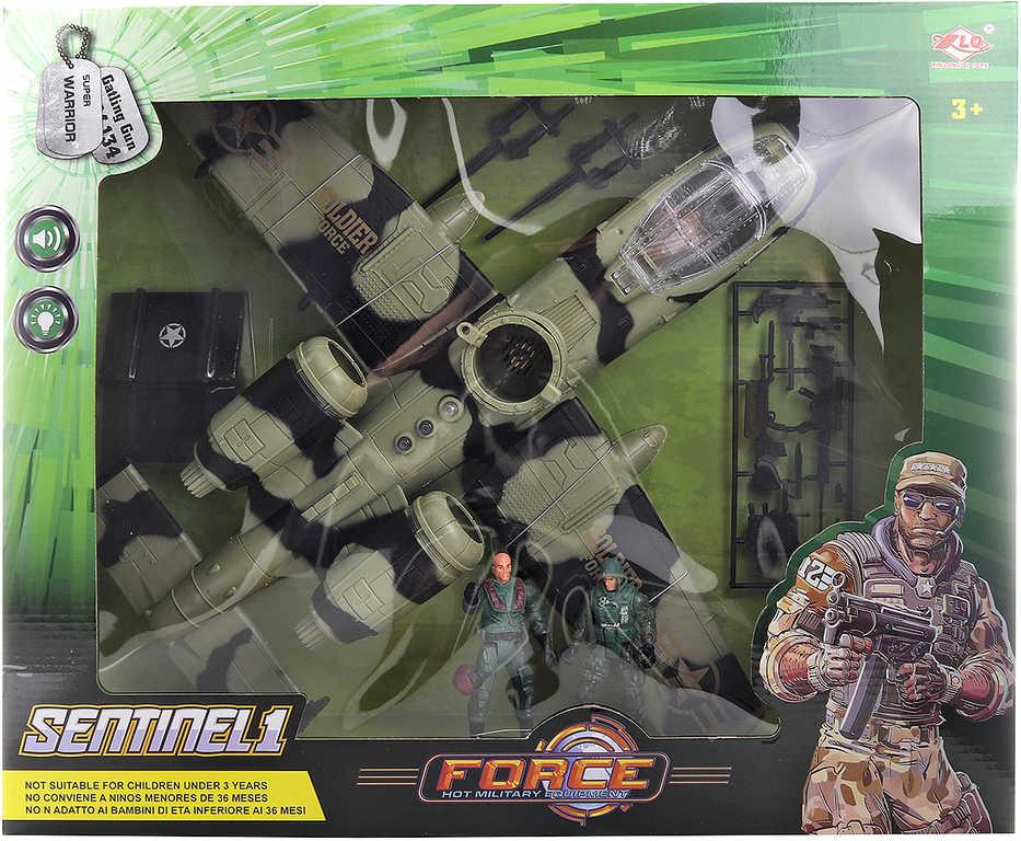 Letadlo bitevní velký herní set se 2 vojáky a doplňky na baterie Světlo Zvuk plast