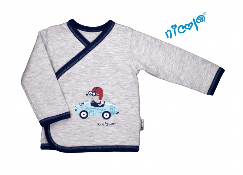 Novorozenecká bavlněná košilka Car - zapínání bokem - šedý