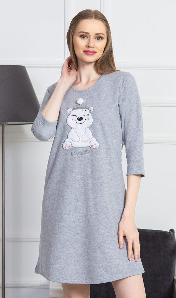 Dámská noční košile s tříčtvrtečním rukávem Méďa s čepicí - šedá