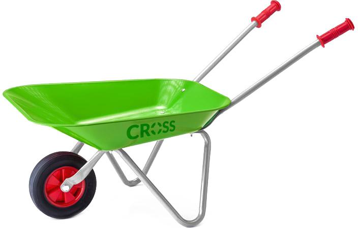 CROSS Dětské kolečko plechové (kolečka) zelené kovové na písek