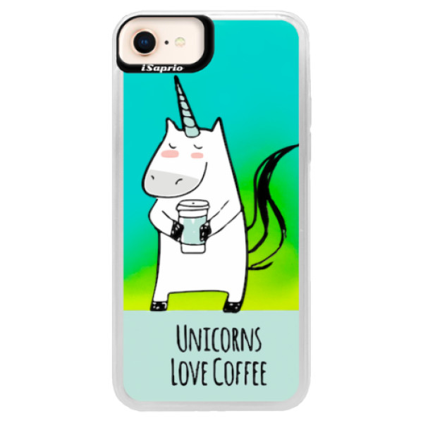 Neonové pouzdro Blue iSaprio - Unicorns Love Coffee - iPhone 8