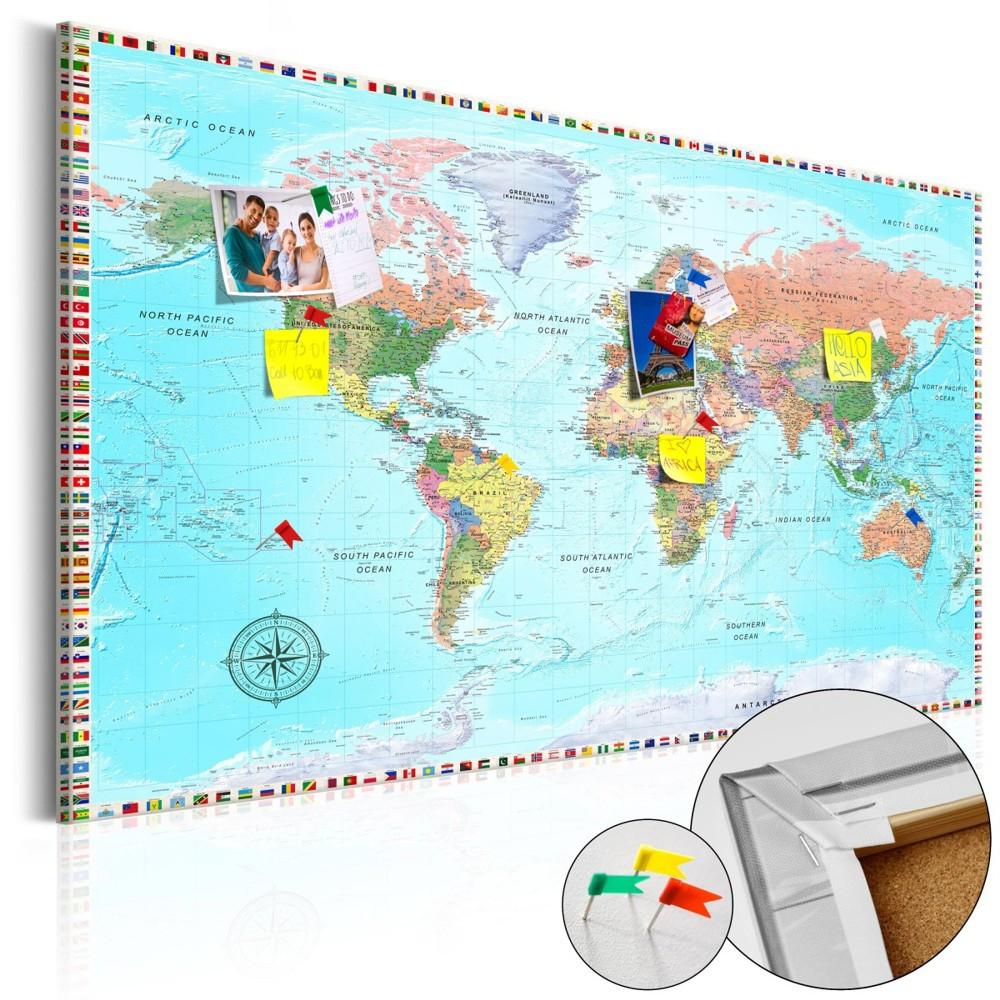 Mapa na korkové tabuli - Svět rozmanitosti - 120x80 cm