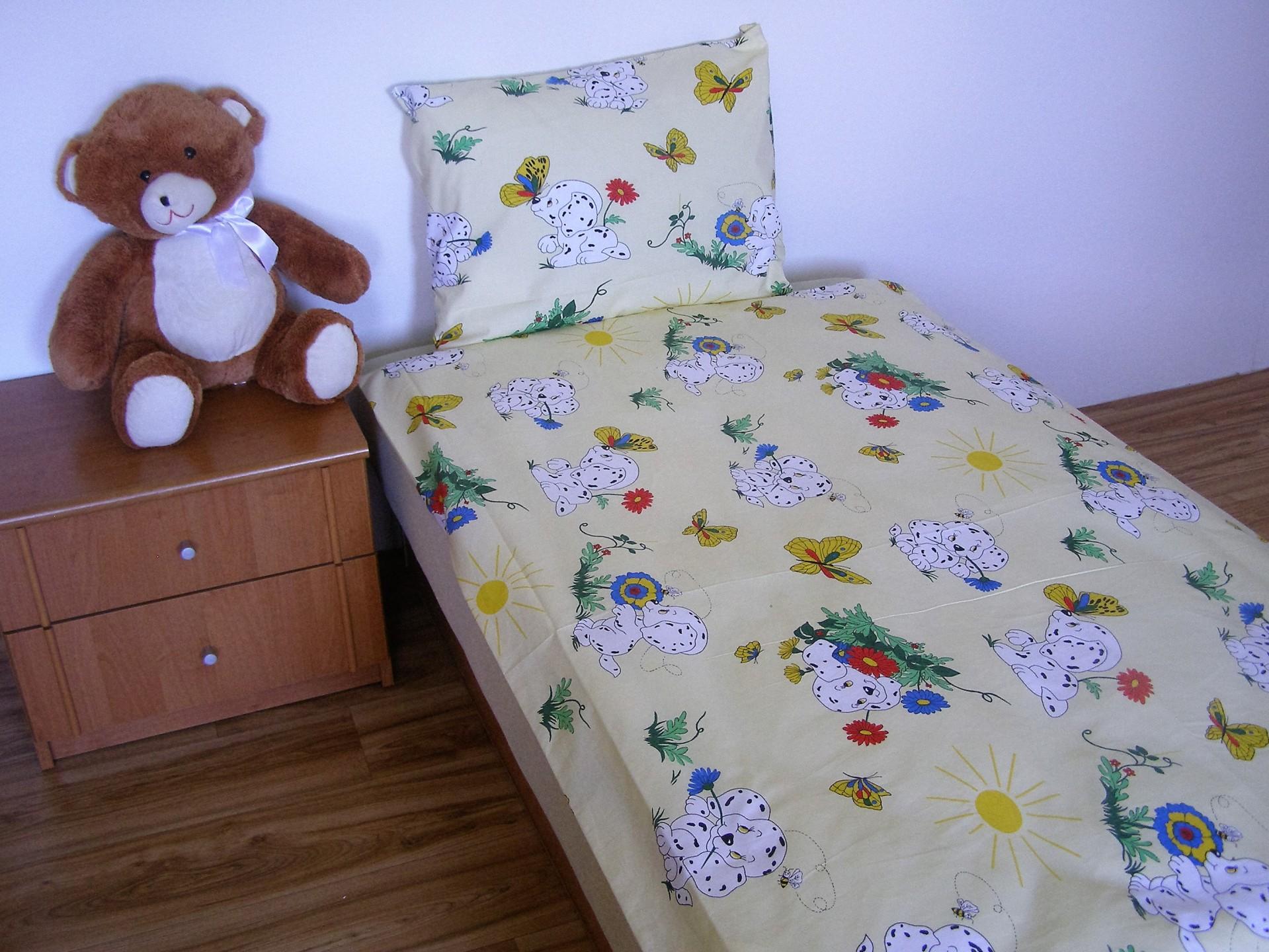 Povlečení dětské bavlna malá postýlka Dalmatin žlutý, Výběr zapínání: nitěný knoflík