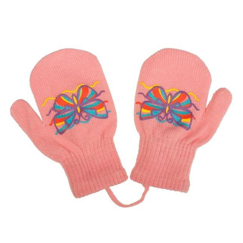 Dětské zimní rukavičky New Baby s motýlkem - růžová/98 (2-3r)