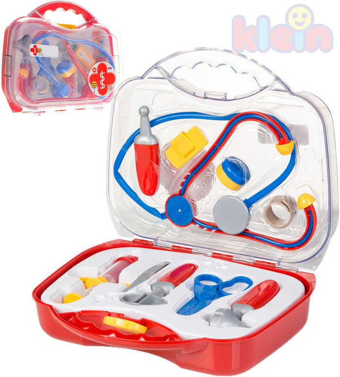 KLEIN Doktorský kufřík střední průhledný dětské lékařské potřeby set 12 ks
