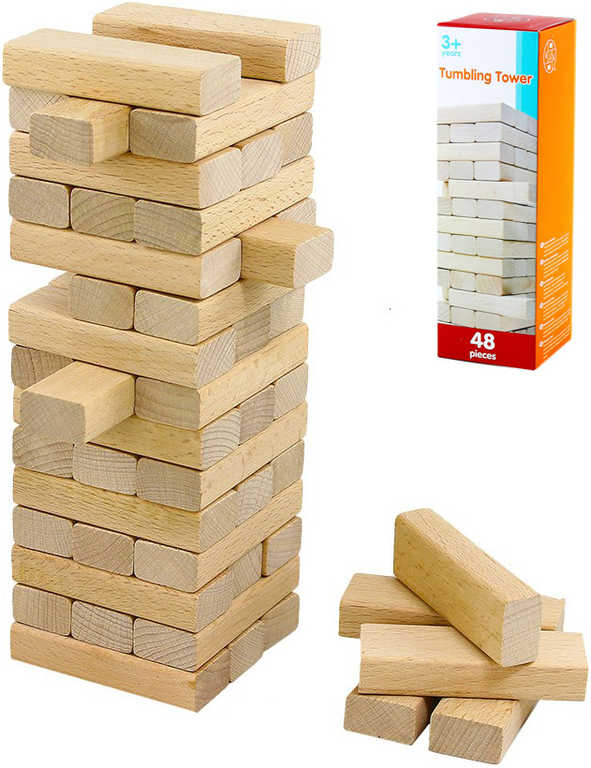 DŘEVO Hra Jenga přírodní věž skládací stavebnice 48 dílků *DŘEVĚNÉ HRAČKY*