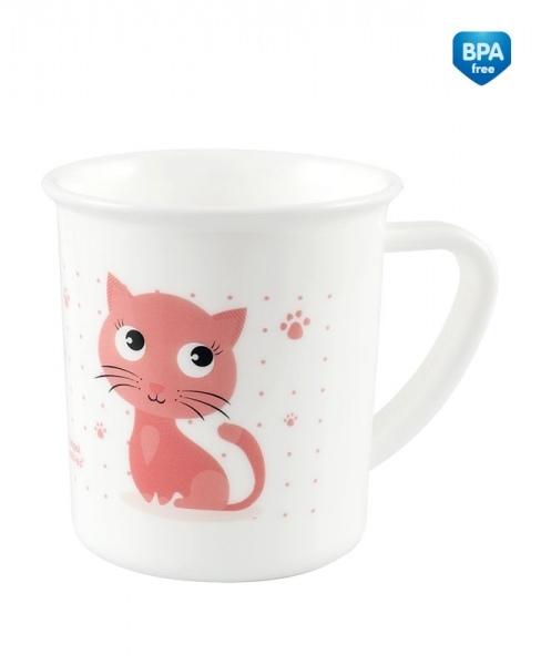 Plastový hrneček bílý - Kočička