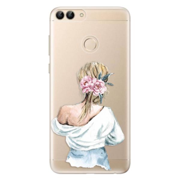 Odolné silikonové pouzdro iSaprio - Girl with flowers - Huawei P Smart