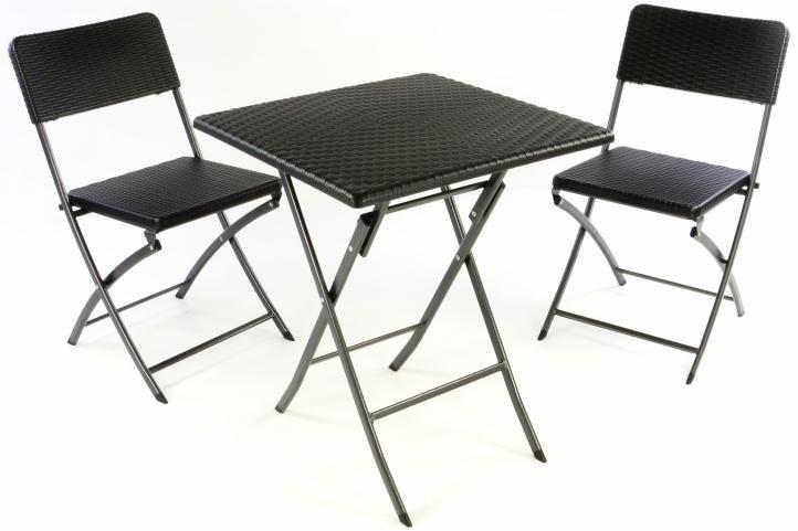 Zahradní set stůl a 2 židle ratanového vzhledu, skládací