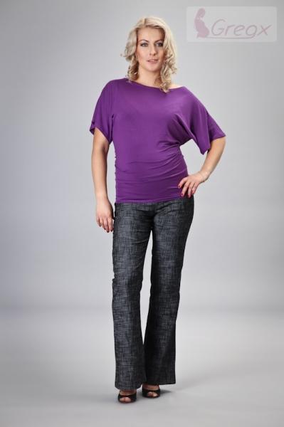 Elegantní těhotenské kalhoty JEANS - černý melír - XXXL