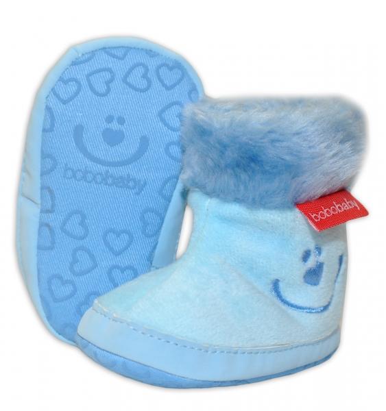 Zimní capačky/botičky BOBO BABY s kožíškem - Méďa - sv. modré