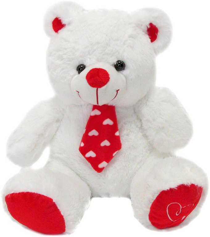 PLYŠ Medvídek bílý s kravatou 20cm se srdíčky *PLYŠOVÉ HRAČKY*