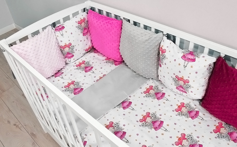 baby-nellys-polstarkovy-mantinel-minky-s-povlecenim-135x100-vila-sede-b19-135x100