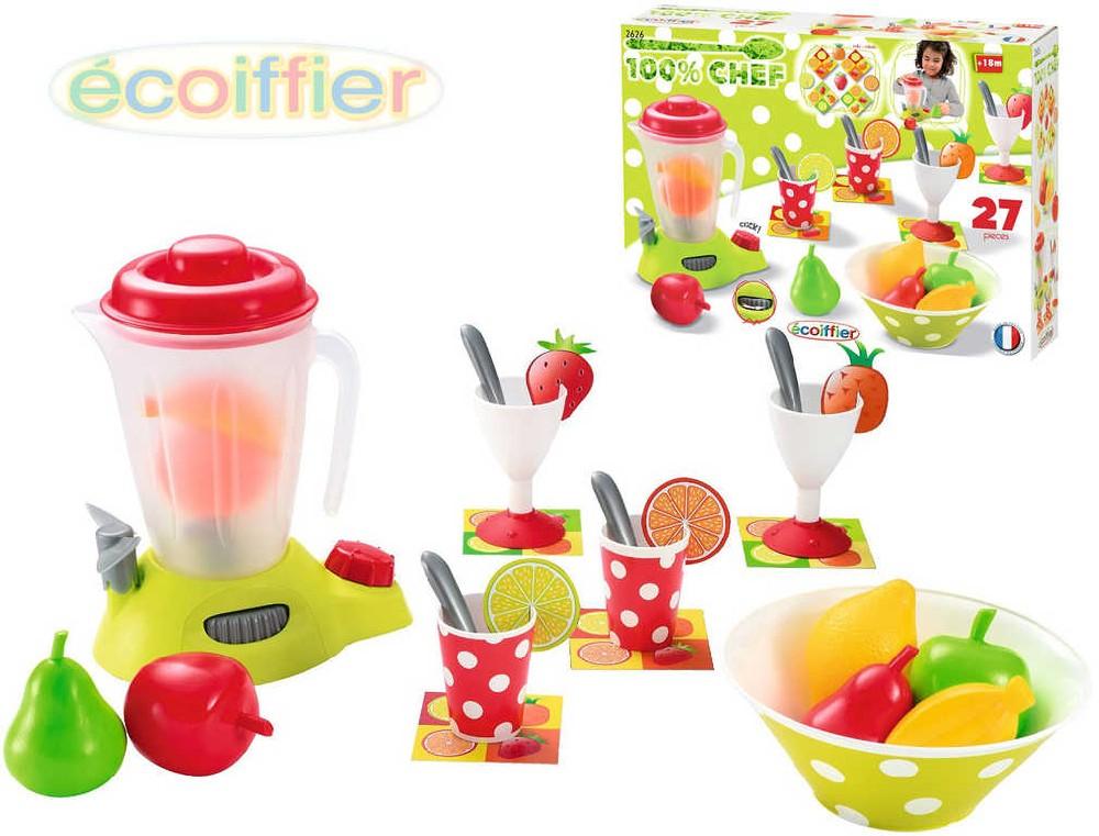 ECOIFFIER Mixér plastový 40cm set s ovocem a nádobím a doplňky