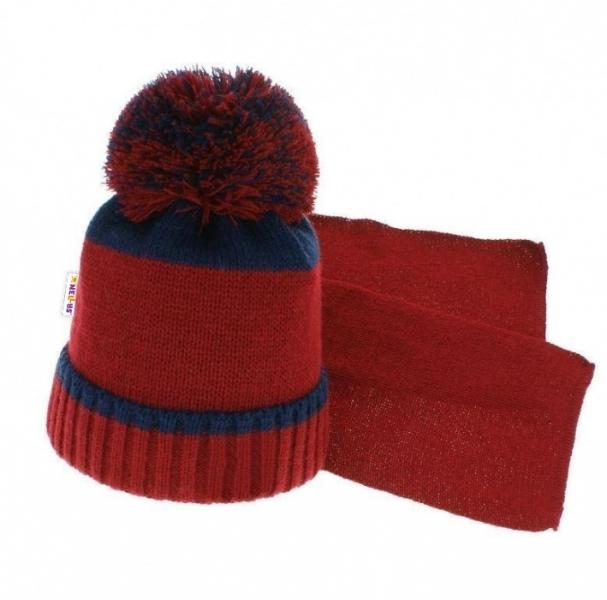 BABY NELLYS Zimní čepice s bambulí a šálou - tm. modrá/červená