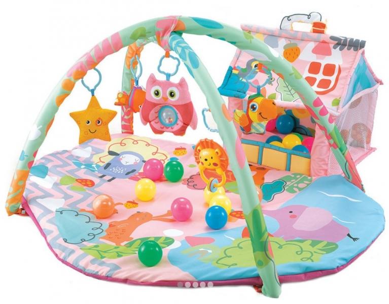 Moni Dětská hrací podložka Happy Farm, růžová