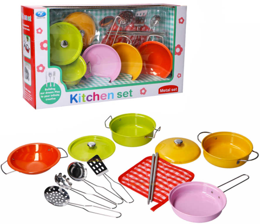 Nádobí dětské kovové set hrnce s kuchyňskými nástroji v krabici