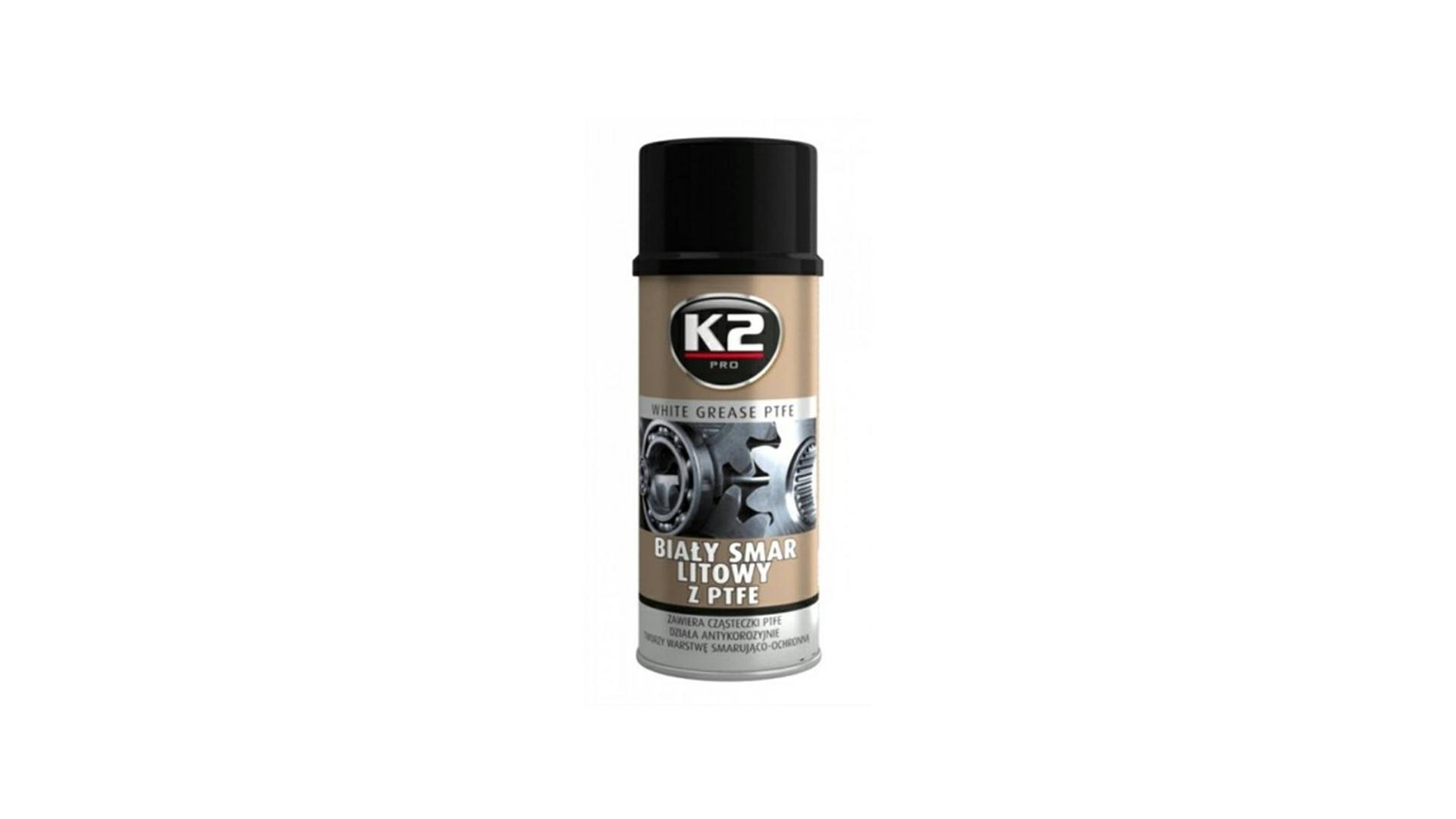 K2 WHITE GREASE PTFE 400ml - aerosolové mazivo na lithiové bázi