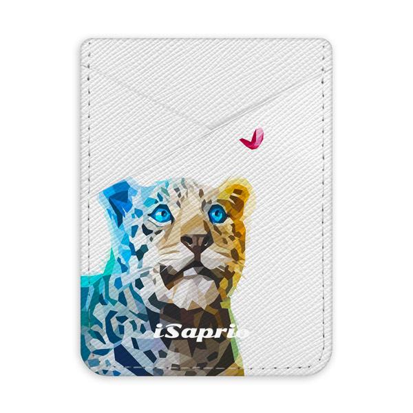 Pouzdro na kreditní karty iSaprio - Leopard with Butterfly - světlá nalepovací kapsa