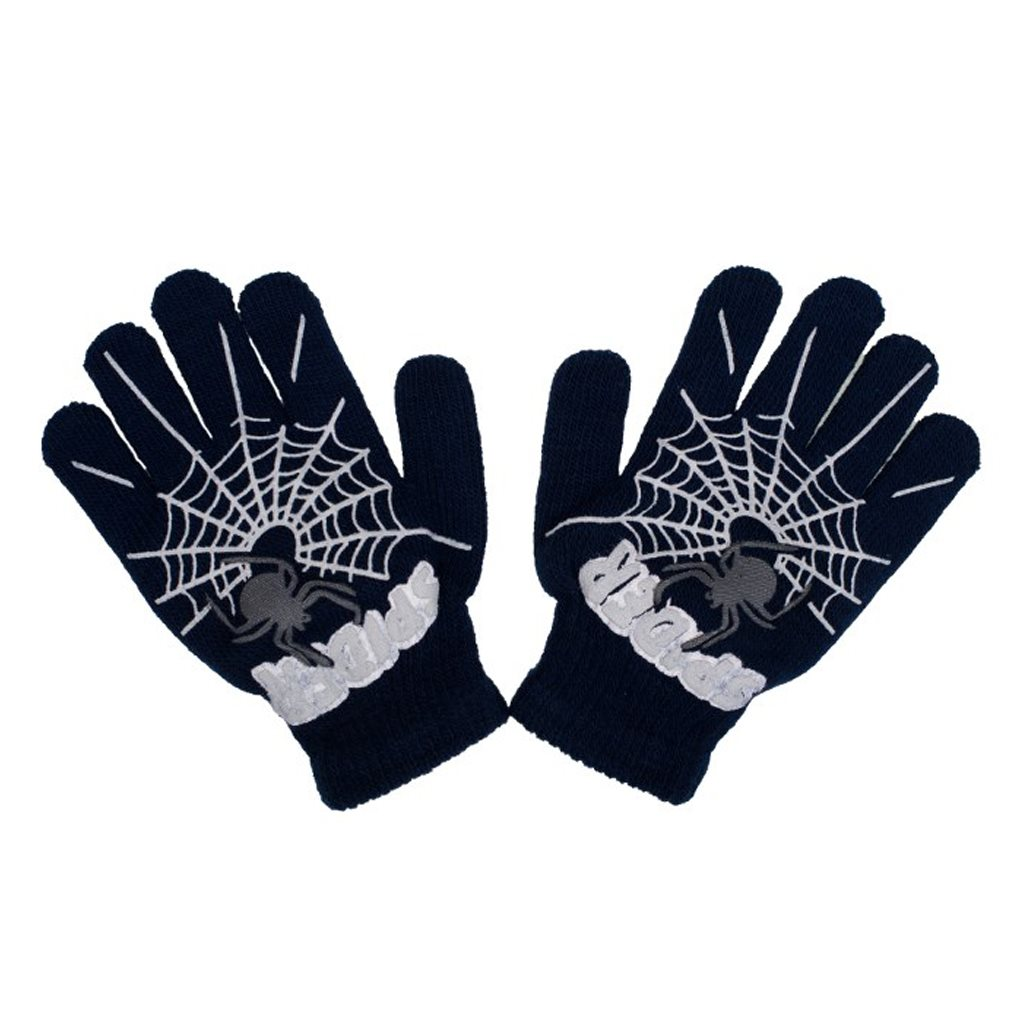 - Dětské zimní rukavičky New Baby s pavoukem černé - černá/104 (3-4r)