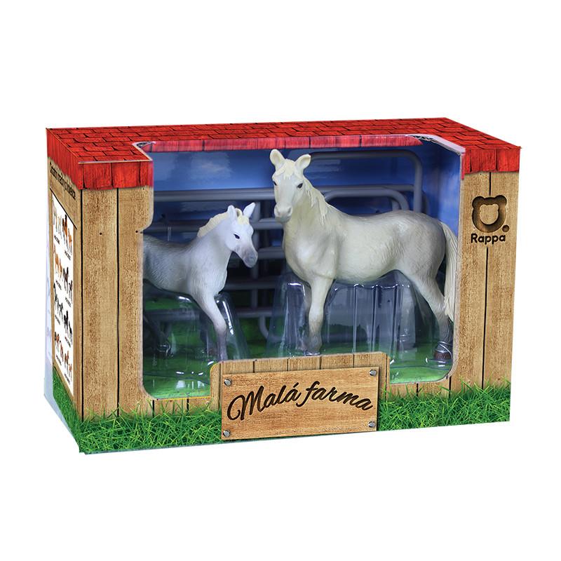 Sada koně 2 ks s ohradou bílý