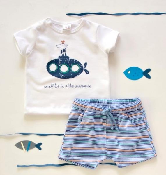 K-Baby 2 dílná dětská sada, triko s kraťasky For Boy - proužky modré, zelené, vel.