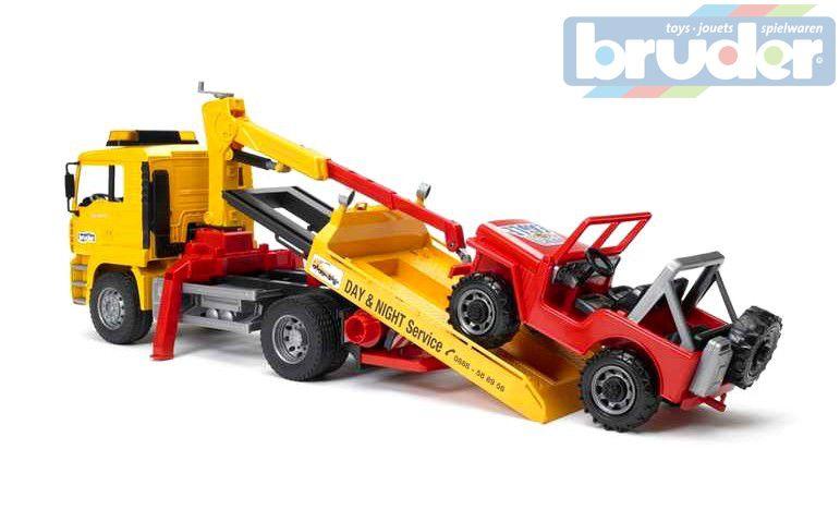 BRUDER 02750 (2750) Nákladní auto MAN odtahový vůz + Jeep