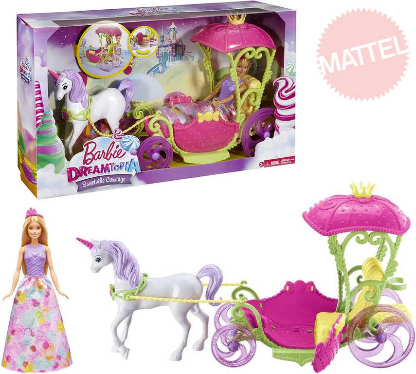 MATTEL BRB Panenka Barbie set kočár ze sladkého království s koněm a panenkou