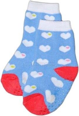 Bavlněné protiskluzové froté ponožky 6-12m - srdíčka v modré